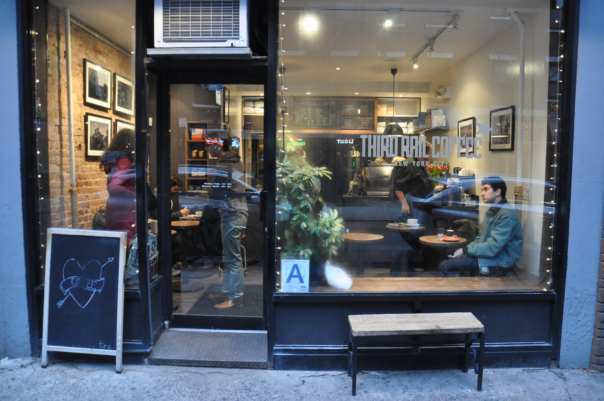 The front of Third Rail Coffee on Sullivan Street, New York City.