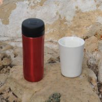My Travel Press (left) on the southern rim of the Grand Canyon with my Therma Cup.