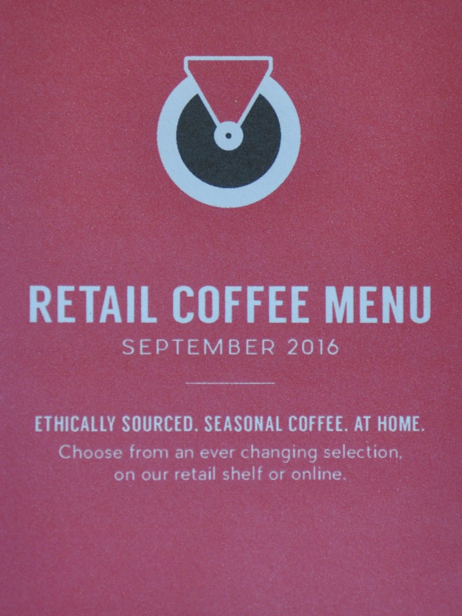 The front of the Retail Coffee Menu (September 2016) from Hot Numbers cafe/roastery on Trumpington Street, Cambridge.