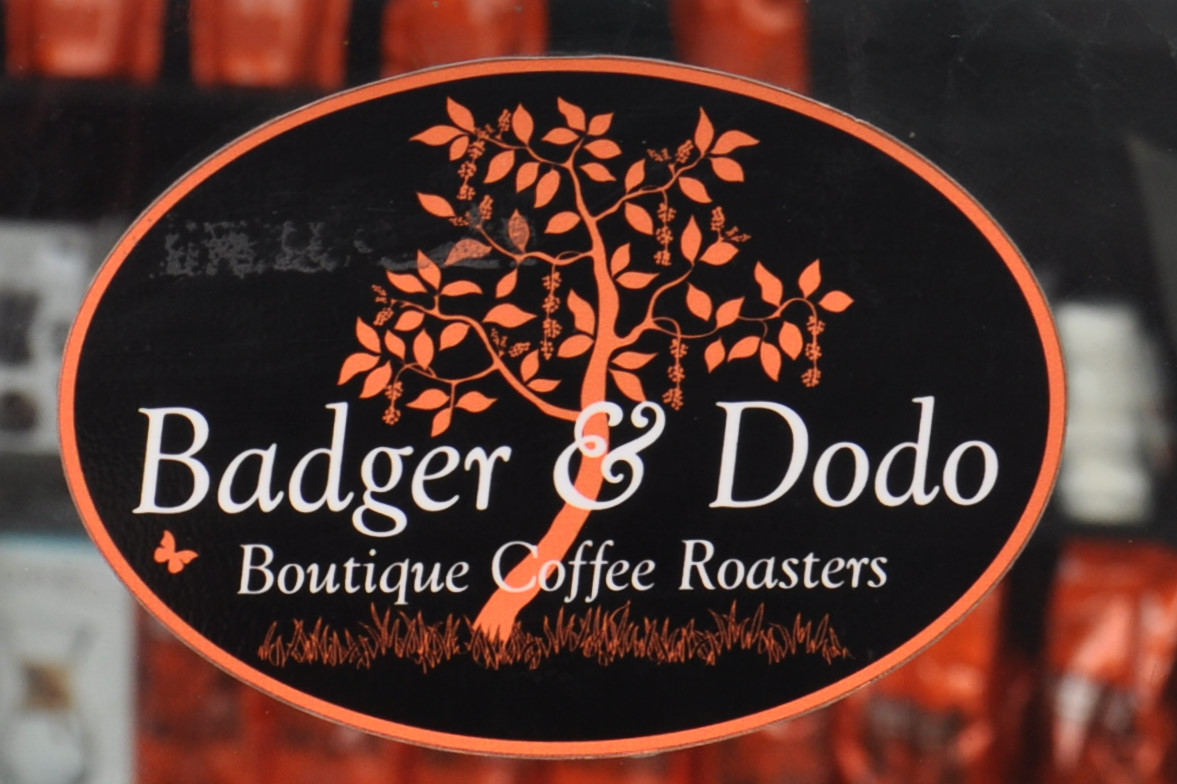 The Badger & Dodo logo, taken from the door of its coffee shop in Galway.