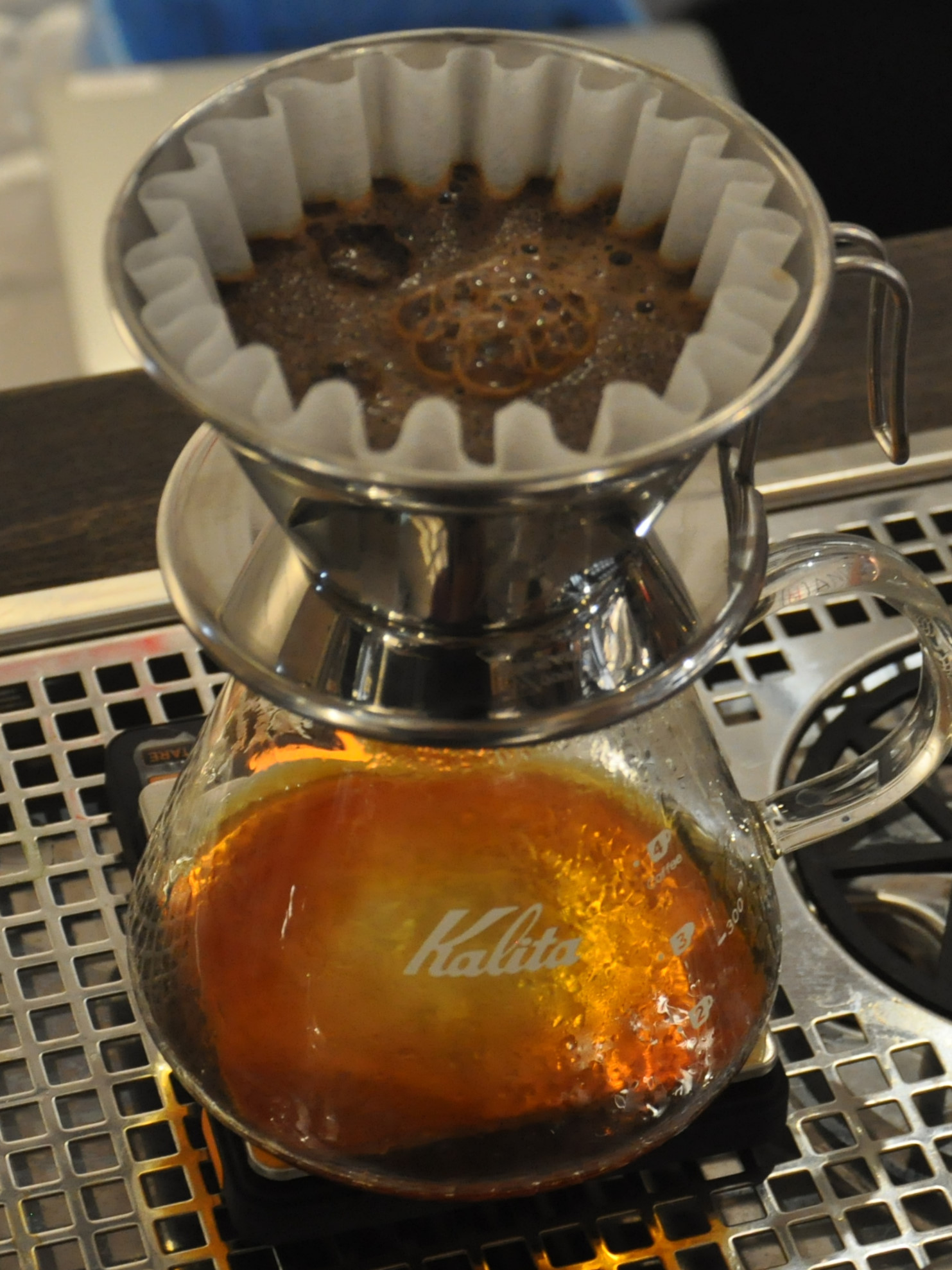 One of Made by [H]and Coffee's handmade Kalita Wave filters brewing away at it's pop-up in UniQlo on Oxford Street in March 2017.
