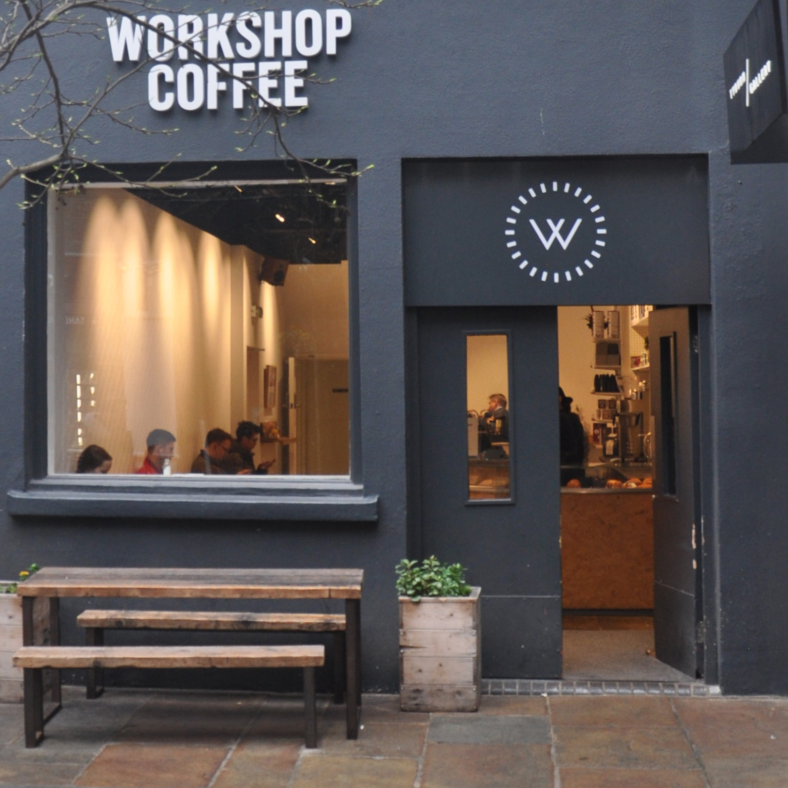 The front of Workshop Coffee, Marylebone, tucked away in St Christopher's Place.
