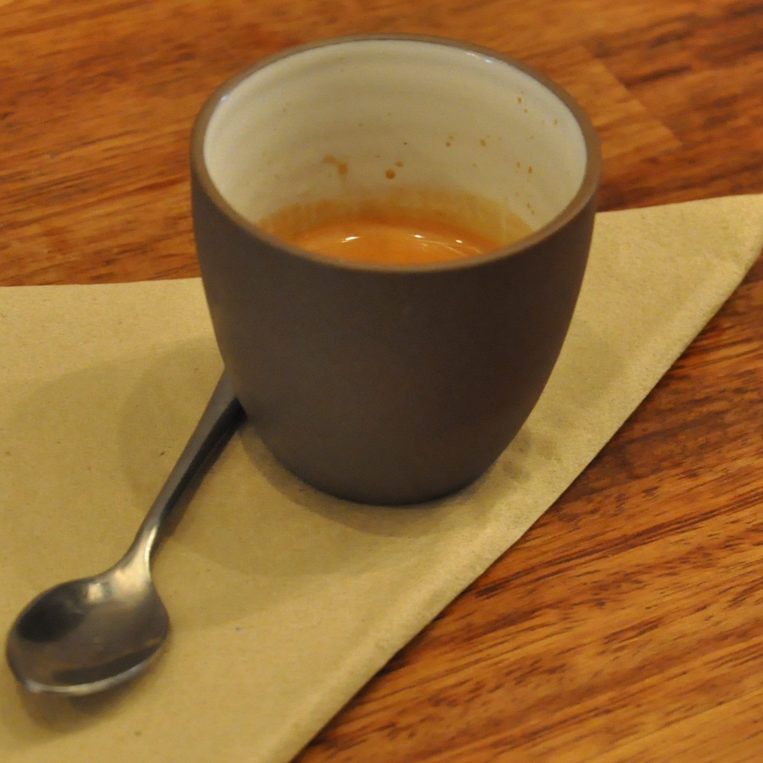 A shot of the guest espresso at Baltzersens in Harrogate, served in a handleless cup.