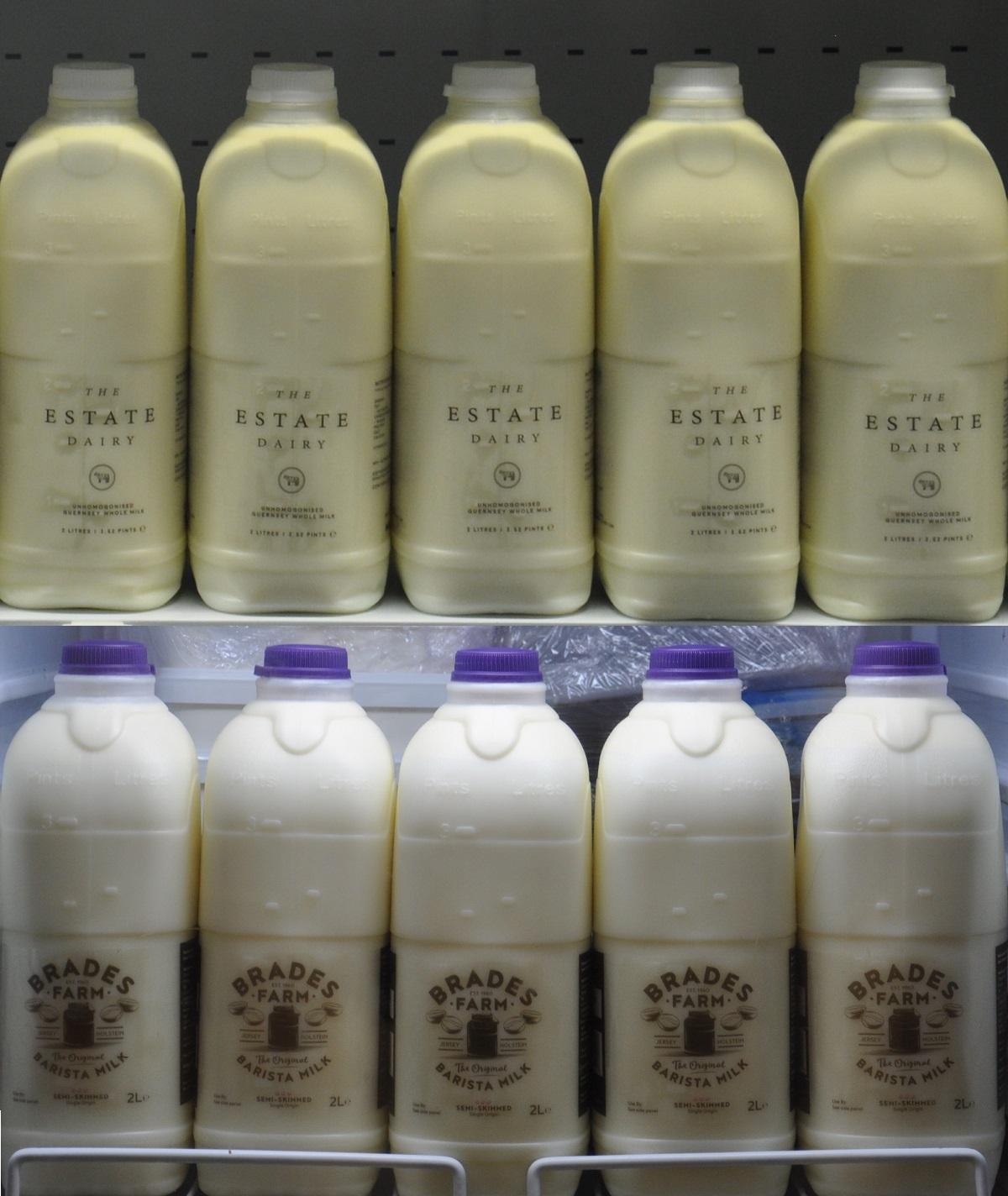 It's milk all round at the London Coffee Festival in 2017. Top row, The Estate Dairy. Bottom row, Allan Reeder Ltd's Brades Farm barista milk.