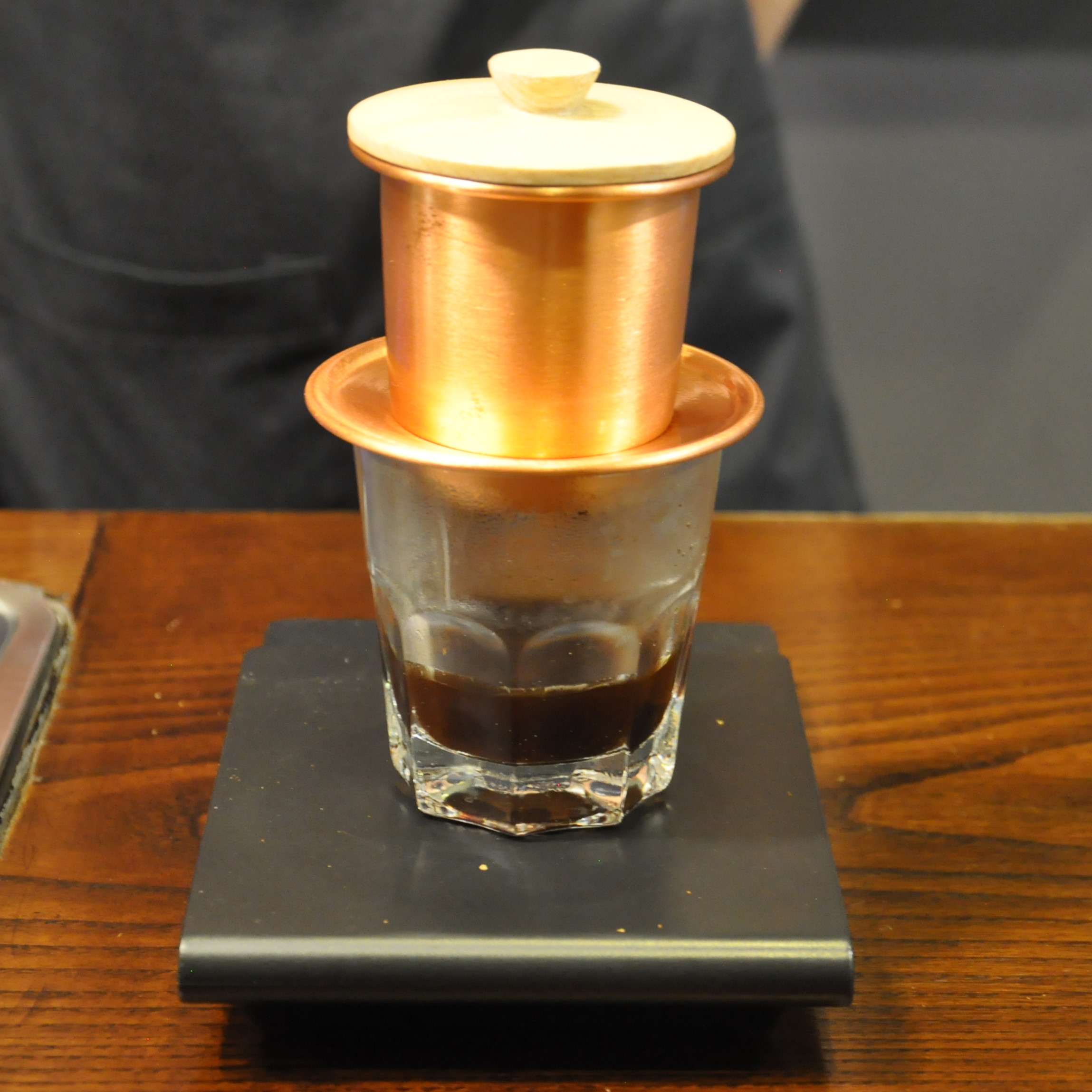 A traditional cup-top filter at The Caffinet in Hanoi.