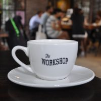 My espresso surveys the room in The Workshop Coffee, Ho Chi Minh City