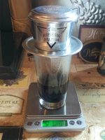 My traditional Vietnamese cup-top filter from The Espresso Station in action at my friend's house in the USA.