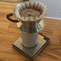 A Kalita Wave pour-over brewing at The Kaf in Glasgow.