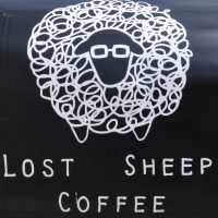 Detail from the back of the Lost Sheep Coffee Pod in Saint George's Lane, Canterbury.