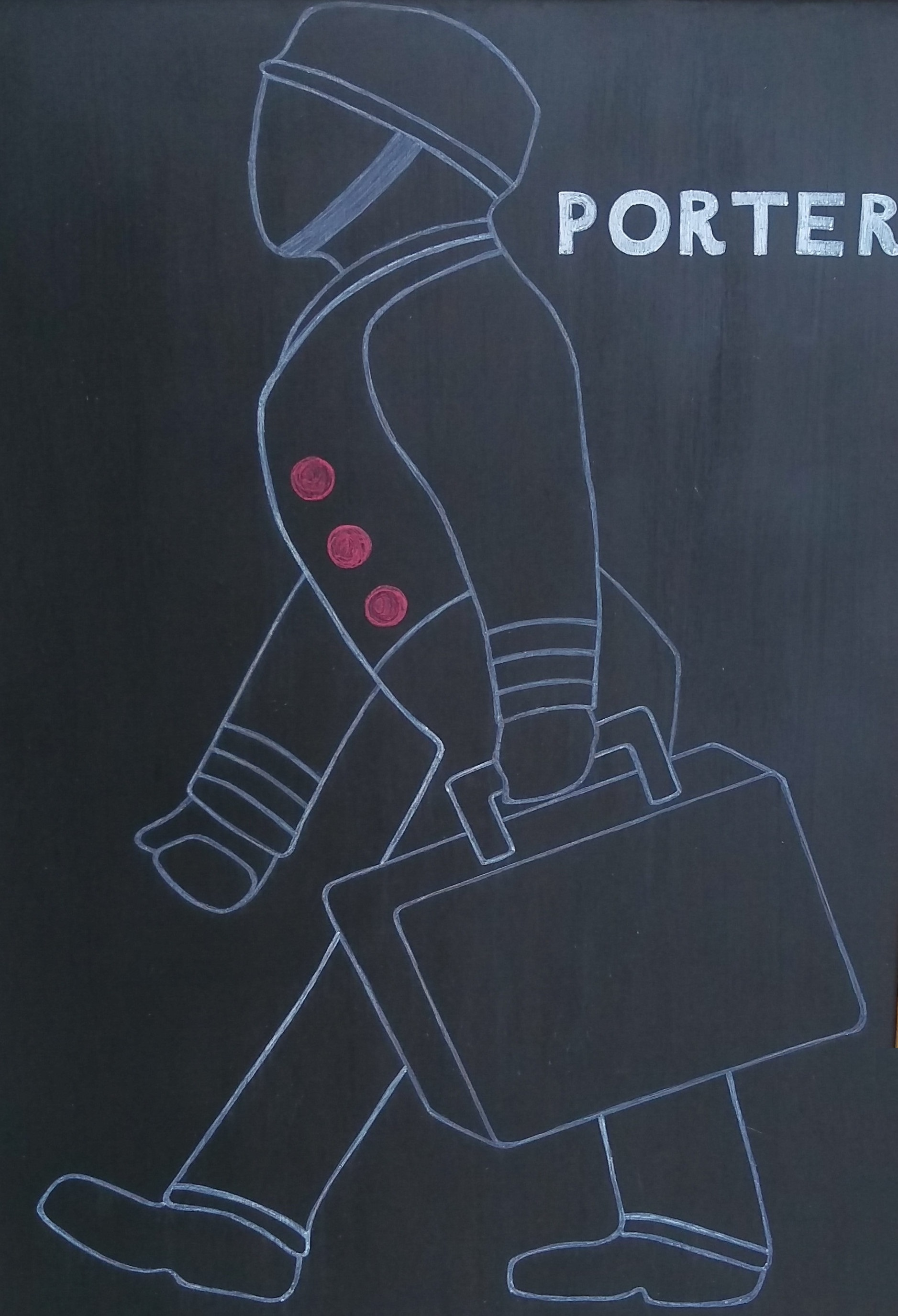 A chalk outline of an old fashioned porter, case in hand, from the sign of Porter, in Madison.