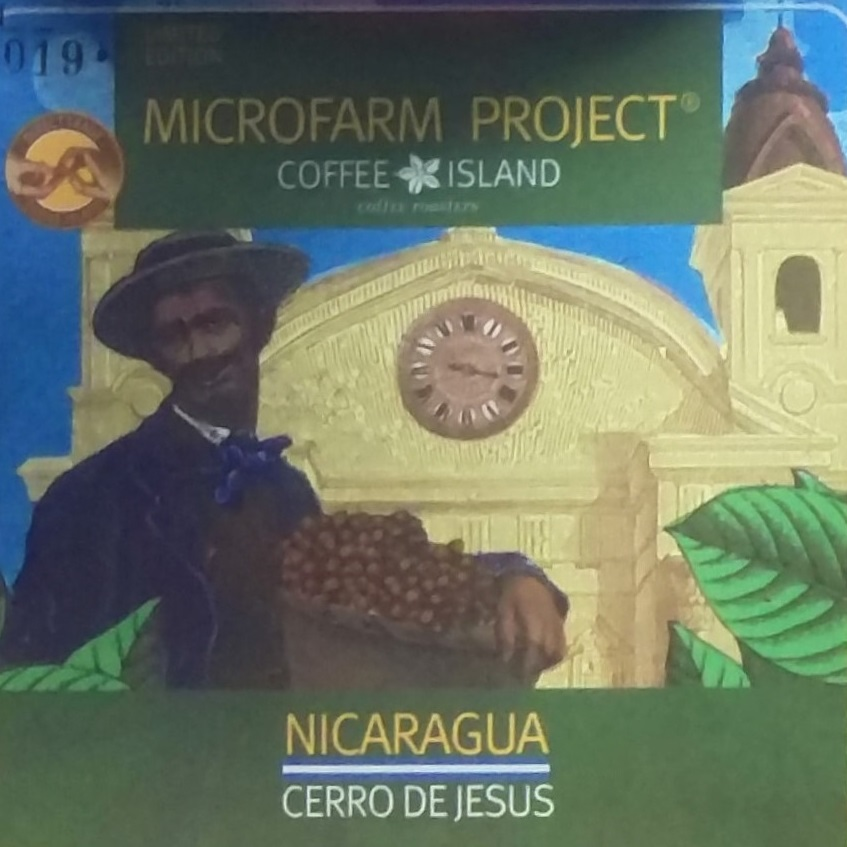 An information card for a micro-lot from the Cerro de Jesus farm in Nicaragua, supplied by Coffee Island in St Martin's Lane.