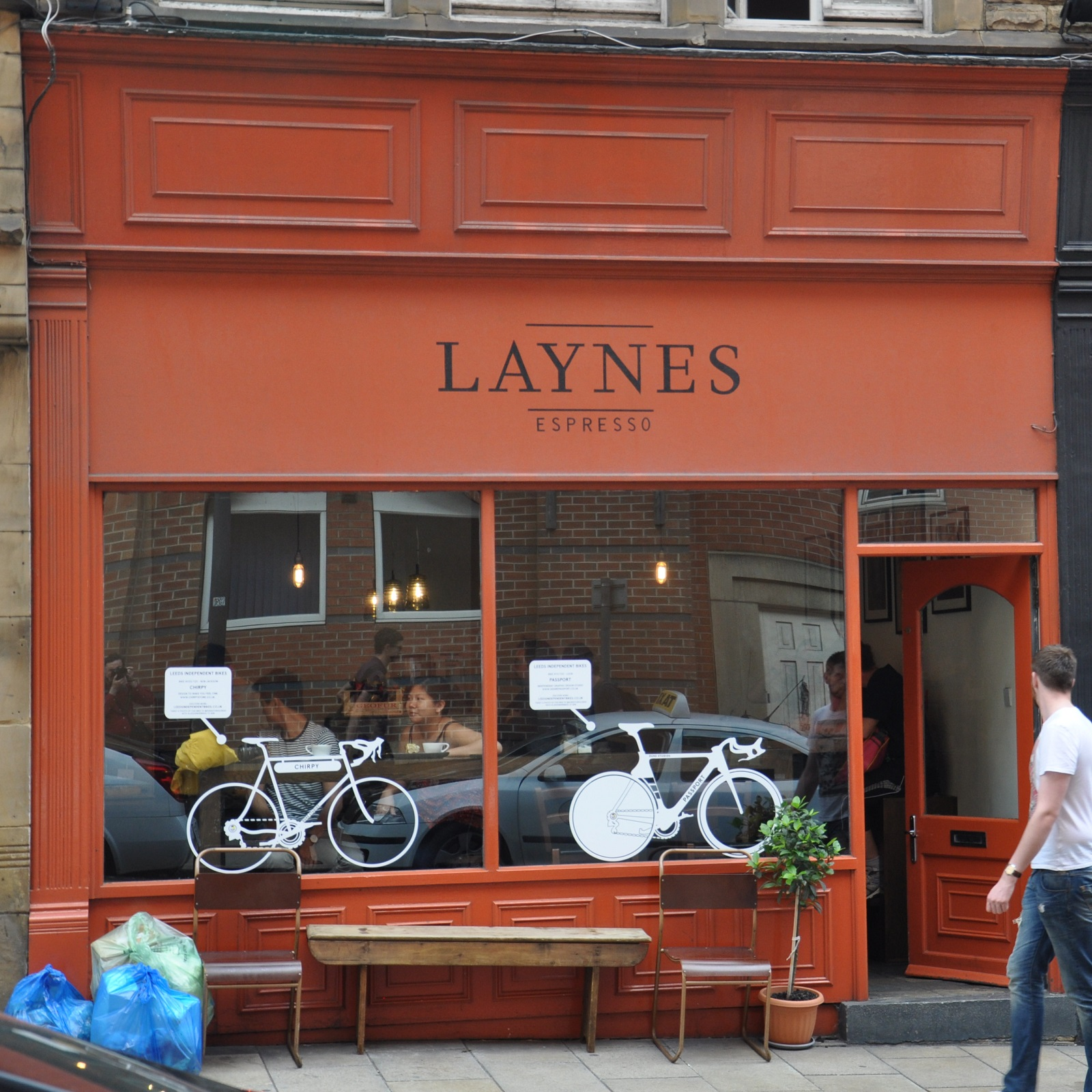 The original facade of Laynes Espresso on New Station Street, Leeds, before its expansion.