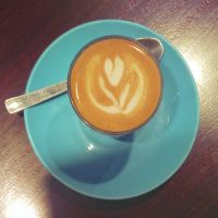 A cortado, made with Square Mile's Sweet Shop Blend at Forté Espresso Bar in Manchester.