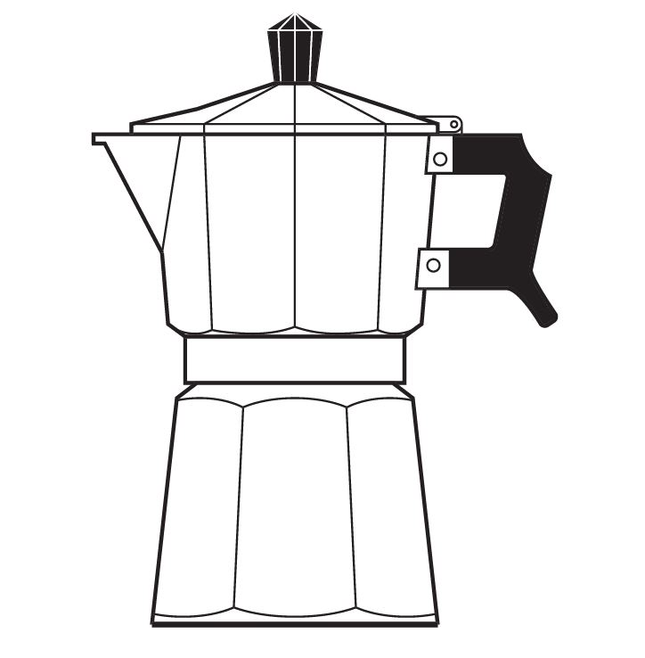 """A line drawing of a Moka Pot, taken from the cover of my book, """"The Philosophy of Coffee""""."""