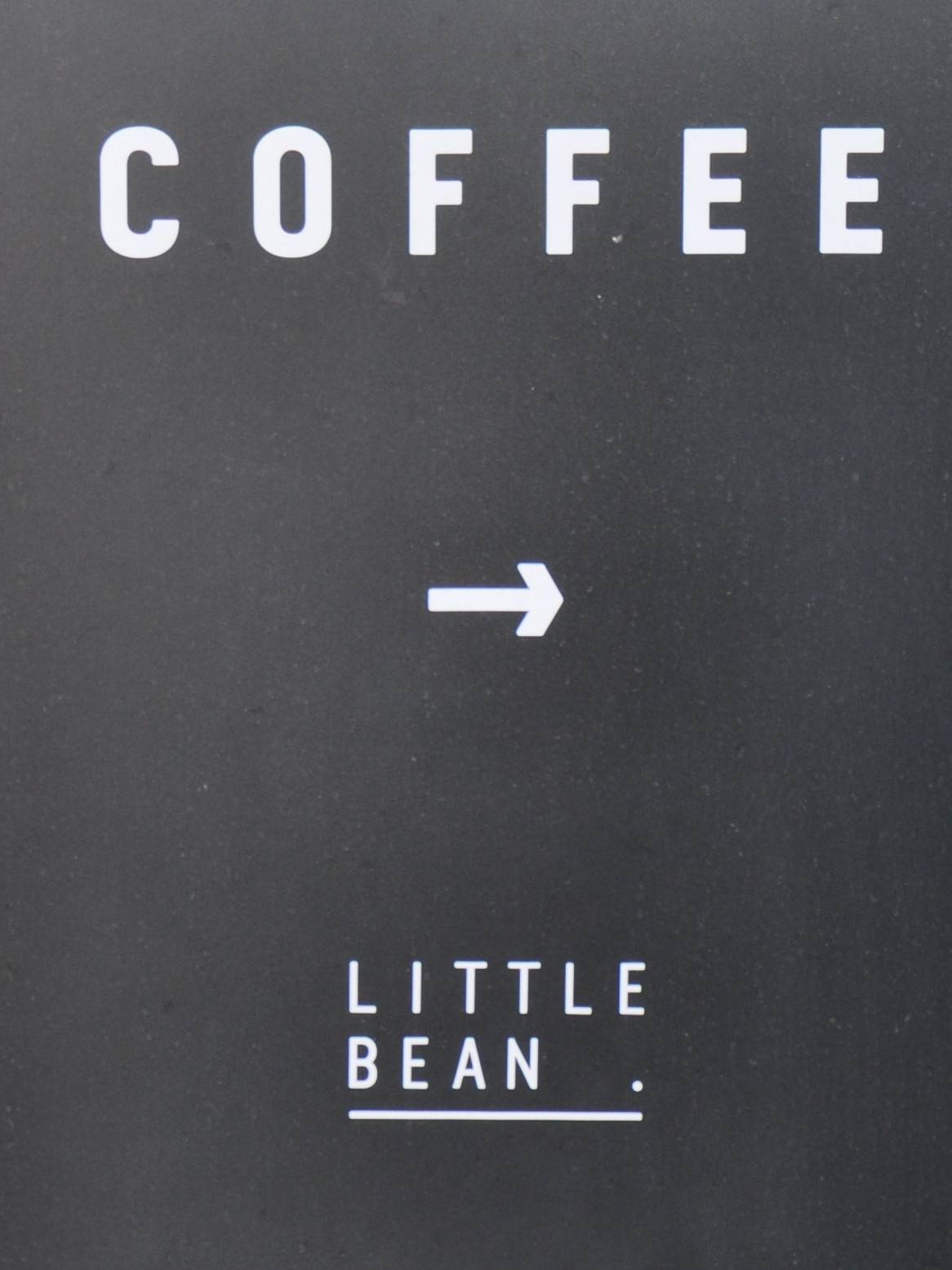 Detail from a very on-point A-board outside the Little Bean Roastery in Pudong, Shanghai.