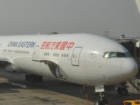 My China Eastern Boeing 777 waiting to take me back to London Heathrow from Shanghai's Pudong Airport.