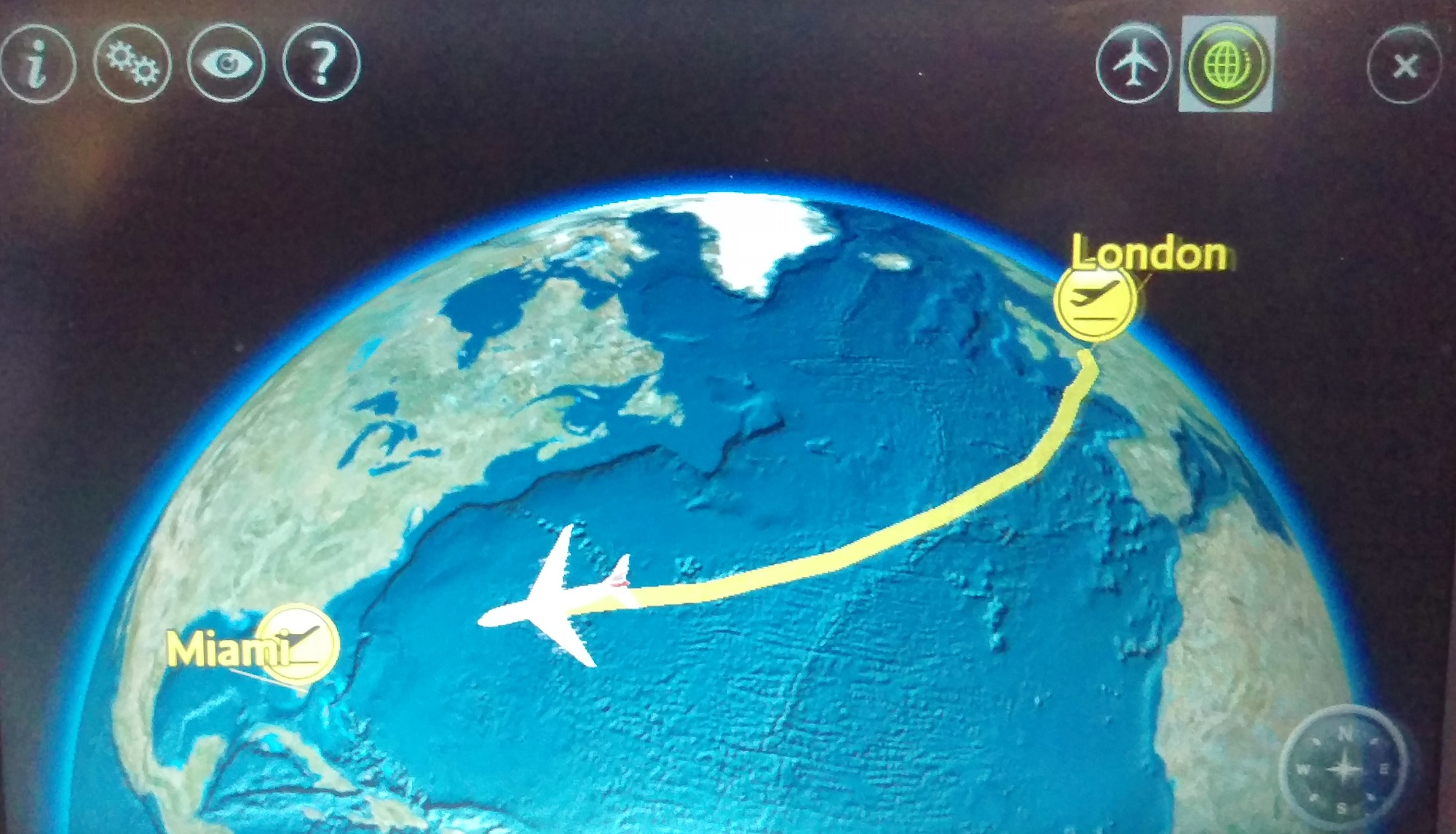 A screen shot of the travel map during my flight from London to Miami with British Airways. Here the plane is over the Atlantic, about 3/4 of the way to Miami.