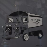 A hand-drawn picture of Providero's old Citroen van from the wall of the store in Llandudno Junction.