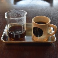 My Colombian Los Naranjos through the V60, served in a carafe, mug on the side, at 111 Roasting Works.
