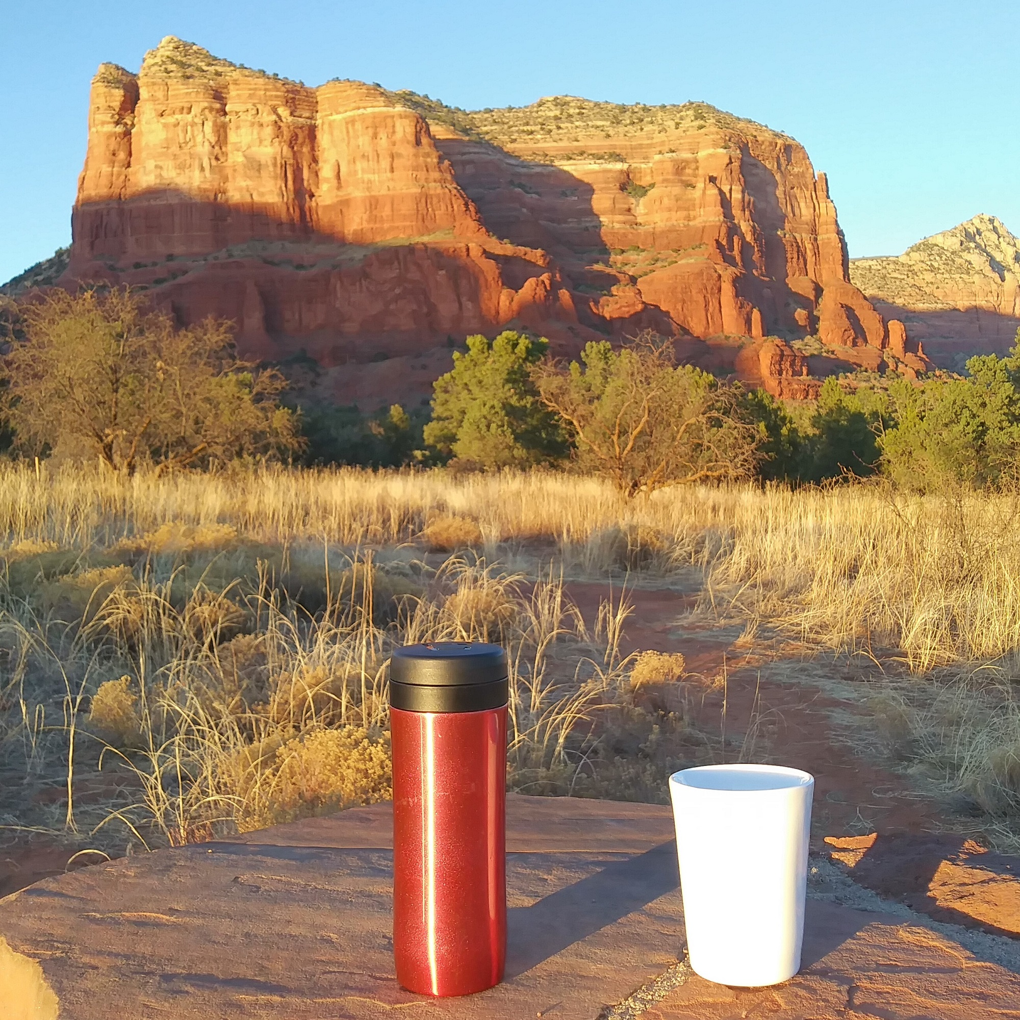 My Travel Press and Therma Cup stand in awe at the magnificence of Courthouse Butte in Red Rock Country, Arizona.