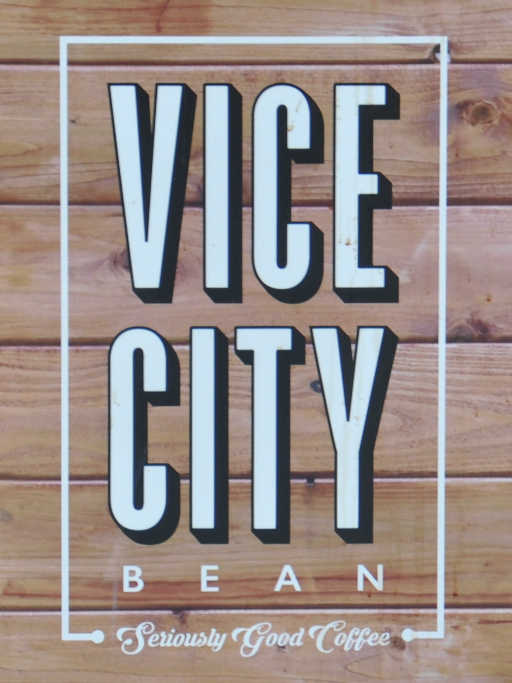 Detail from the side of the Vice City Bean cold brew tricycle in Miami, Florida :seriously good coffee!