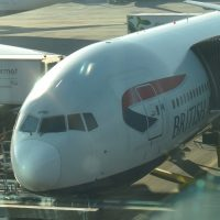 The nose of the British Airways Boeing 777 that flew me to Boston, on the stand at London Heathrow Terminal 5.