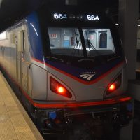 One of Amtrak's locomotives on the Northeast Corridor, waiting on the platform at Philadelphia's 30th Street Station.