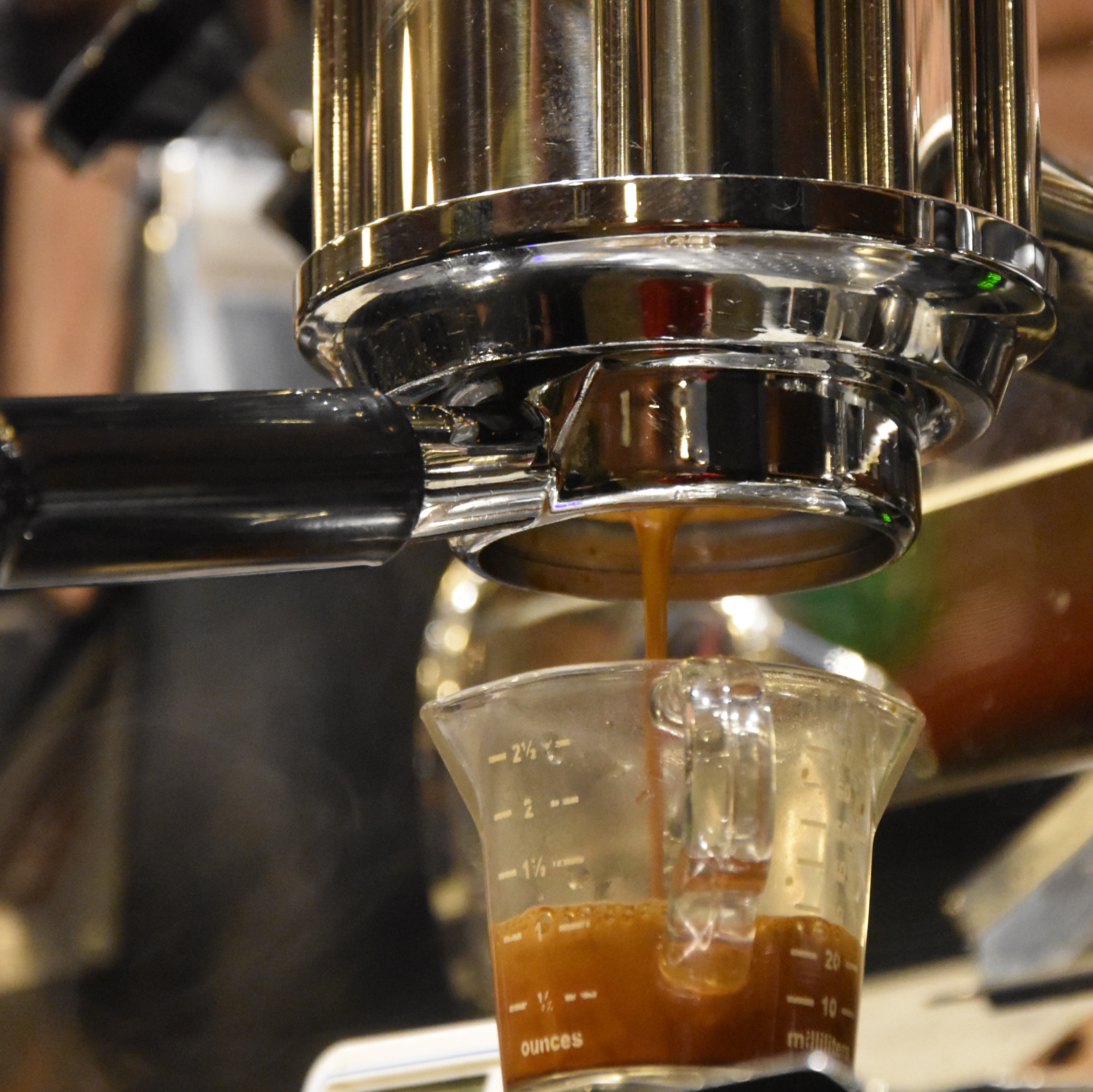 A single-origin Guatemalan coffee extracting through a bottomless portafilter on the Kees van den Westen espresso machine at Parlor Coffee in Brooklyn.