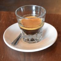 Espresso in a glass at Peddlar Coffee, a single-origin Brazilian Materia.