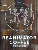 Detail from the door of ReAnimator Coffee Roasters on Master Street on Philadelphia's north side.