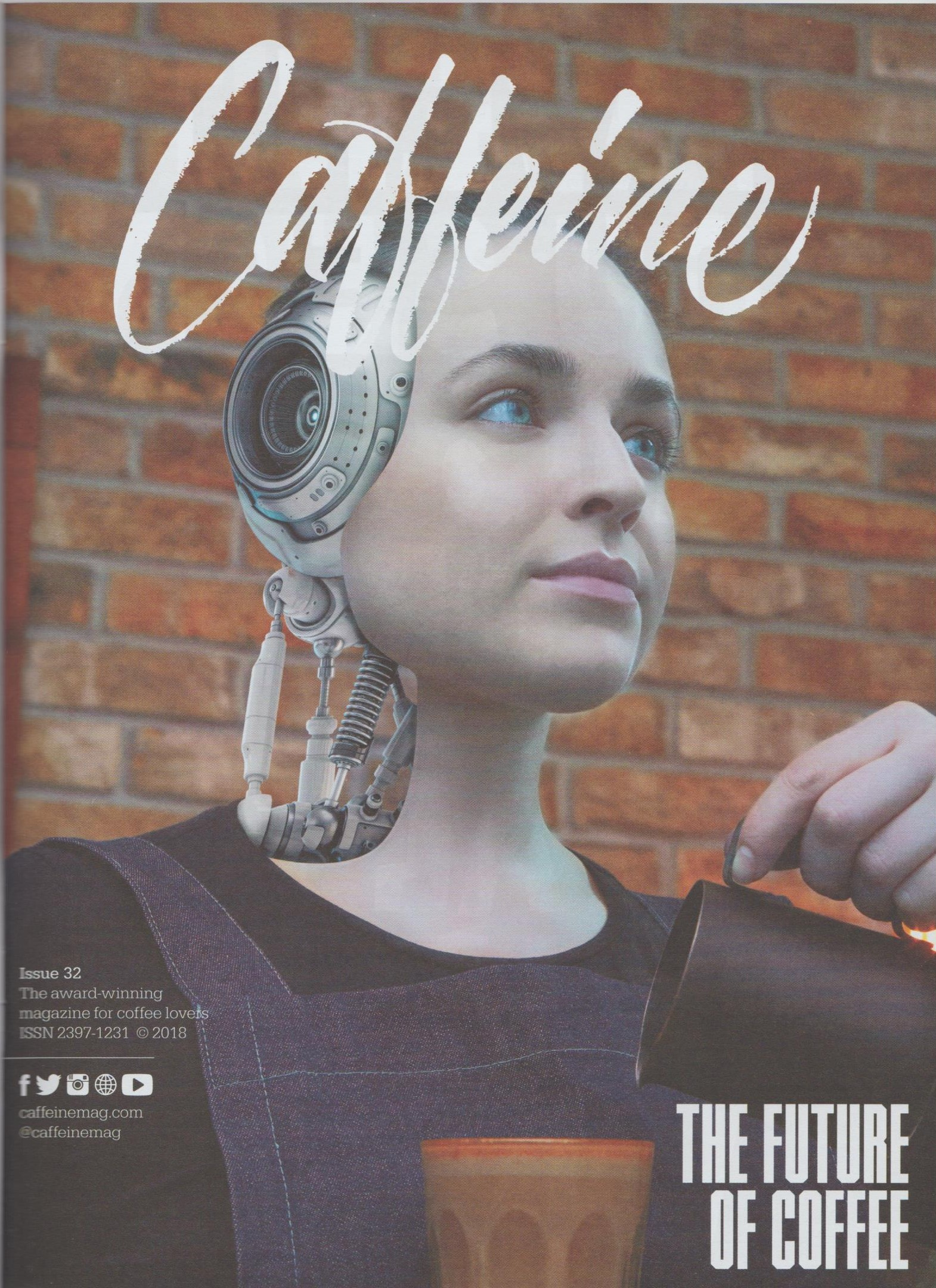 The striking cover of Issue 32 of Caffeine Magazine, which discusses the future of coffee.