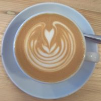 Some lovely latte art in my flat white, made with the Arboretum Blend from Dark Woods and served at Moss Coffee, Chester.