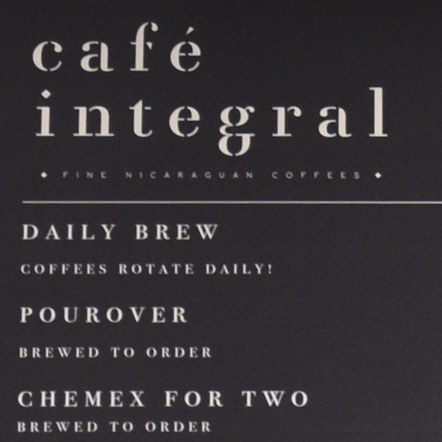 Part of the menu board from Cafe Integral on Elizabeth Street in NYC, showing the filter options.