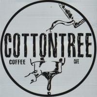 The Cottontree Coffee Cafe logo, with a pour-over kettle on top and an espresso portafilter at the bottom.