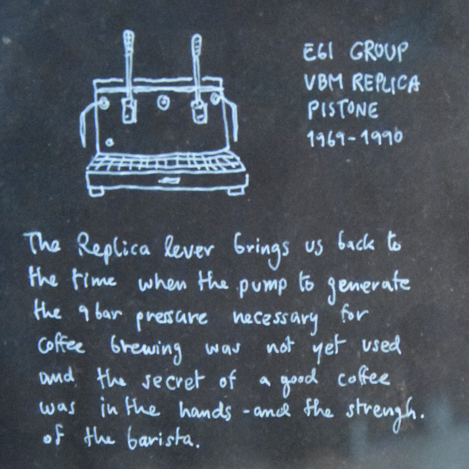 The information plaque on the counter at Graph Cafe, extolling the virtues of its lever espresso machine.