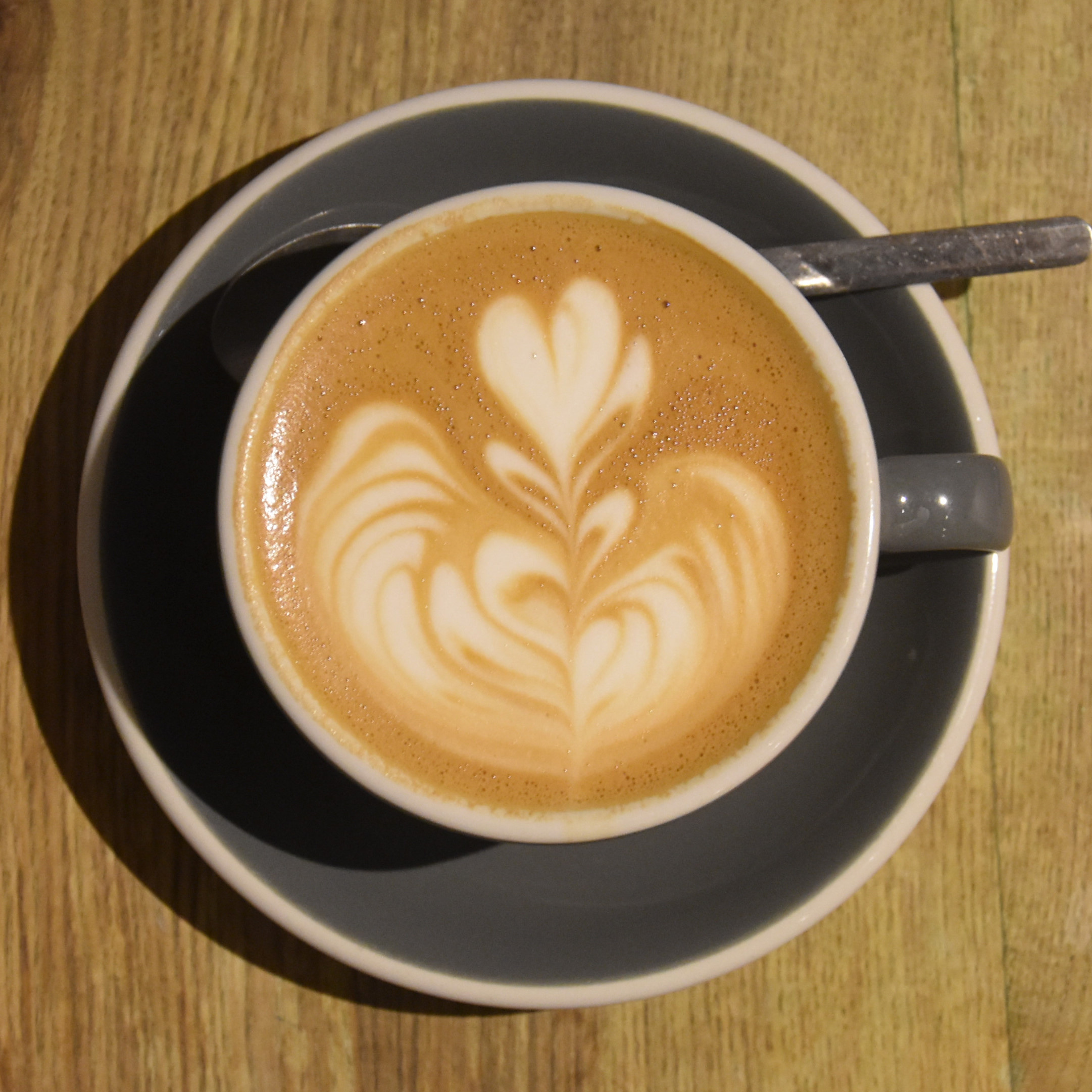 The lovely latte art in my decaf flat white at Lundenwic, made with Square Mile's seasonal decaf espresso.