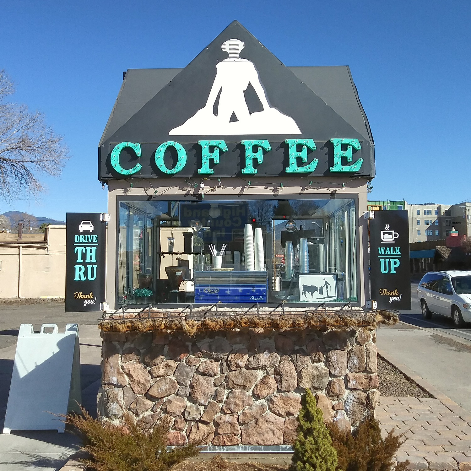 The drive-through (and walk-by) kiosk of Matador Coffee Roasting Co of Flagstaff, Arizona.