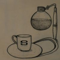 A drawing of a Syphon, taken from the wall of Shin Coffee Roastery in Ho Chi Minh City.