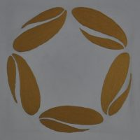 The Vietnam Coffee Republic logo: five coffee beans in a circle, taken from the front wall of the VCR Bar and Showroom.