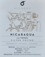 Details of the Nicaraguan La Venus Filter Coffee, complete with tasting notes, available from the Alchemy Cafe.