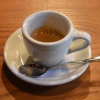 A shot of the Kenyan Kabingara served in a classic white cup at & Espresso.