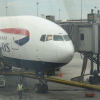 My ride back to the UK, another British Airways Boeing 777-200, on the stand at Bangkok's Suvarnabhumi Airport.