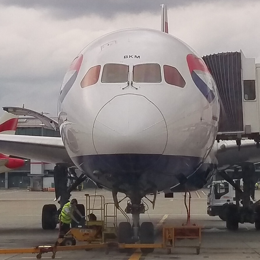 My ride to Bangkok, a British Airways 777-200, sitting at the gate at Heathrow Terminal 5.