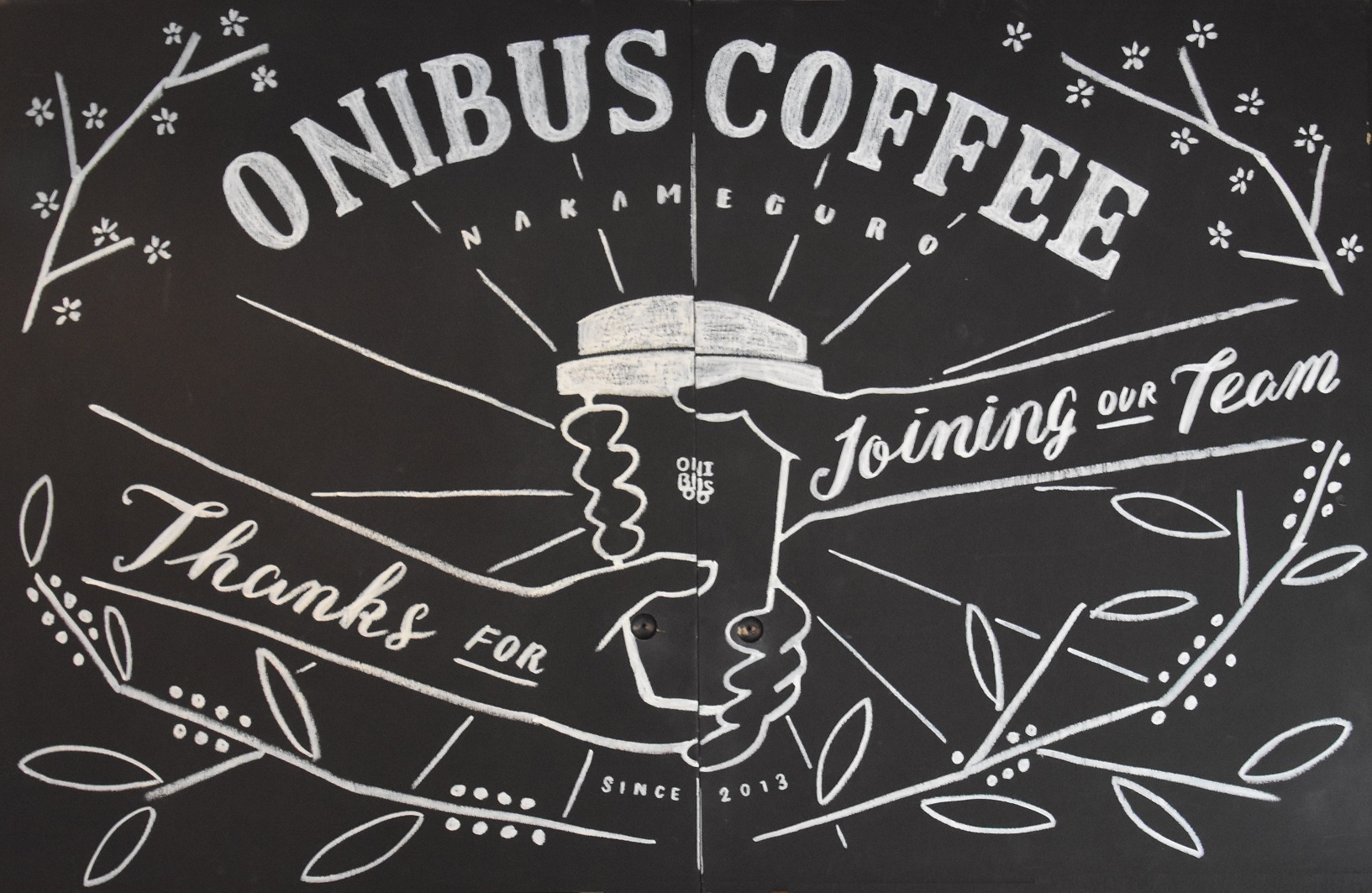A chalk drawing from the wall upstairs in Onibus Coffee.