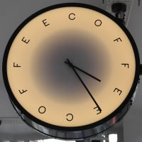 The clock at Rosslyn Coffee where it's always coffee time.