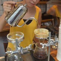 Making a V60 pour-over at About Life Coffee Brewers in Shibuya, Tokyo, one of six single origins I tried in a week.
