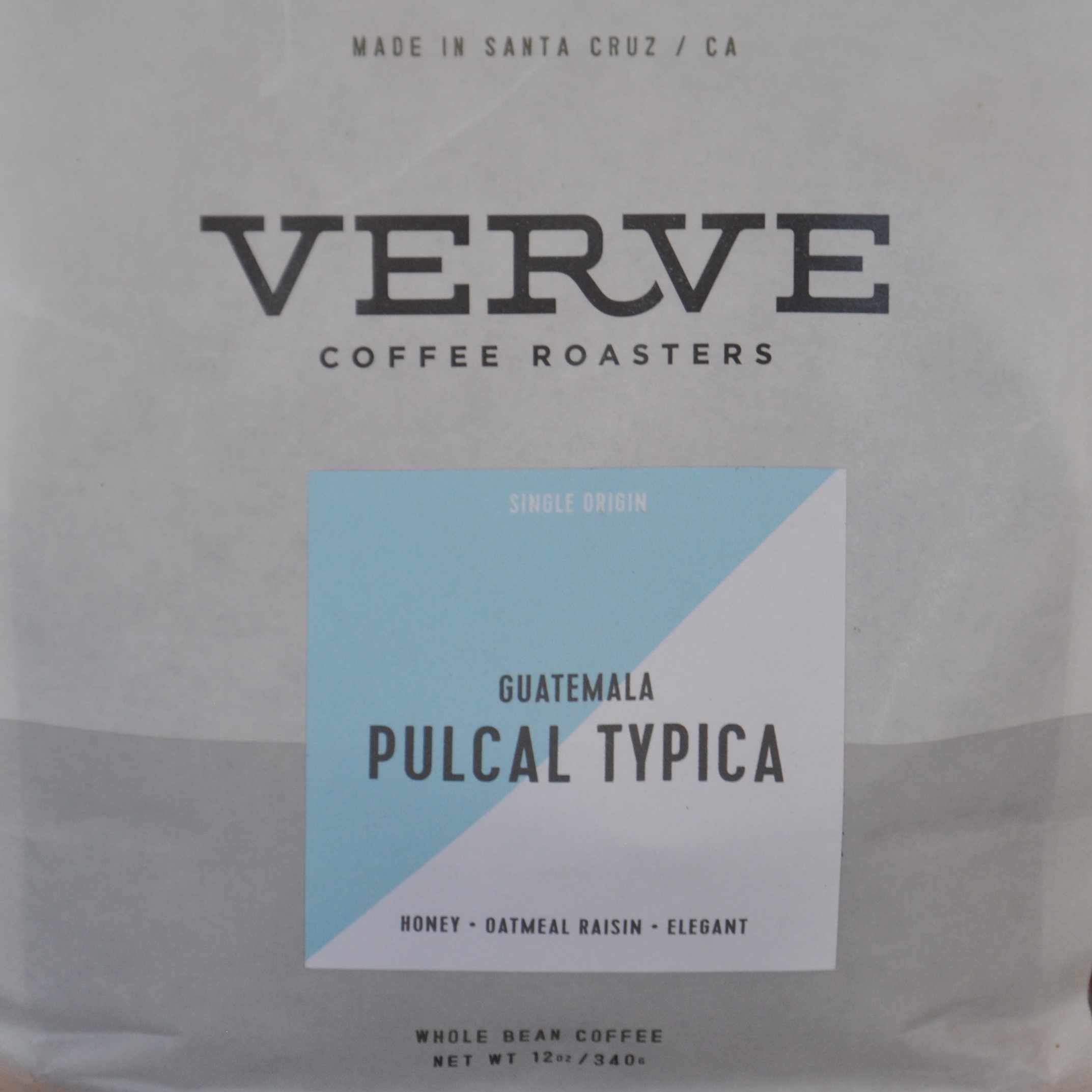 A packet of Verve coffee, a Guatemala Pulcal Typica, taken from a public cupping at the store on Pacific Avenue in Santa Cruz
