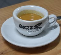 A lovely shot of espresso in an old Buzz Killer Espresso cup, made with the NCK blend at Buzz Coffee & Baker.