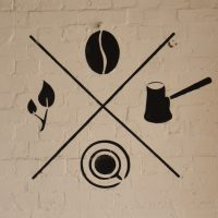 The Craving Coffee logo, from the wall of the coffee shop in Tottenham.
