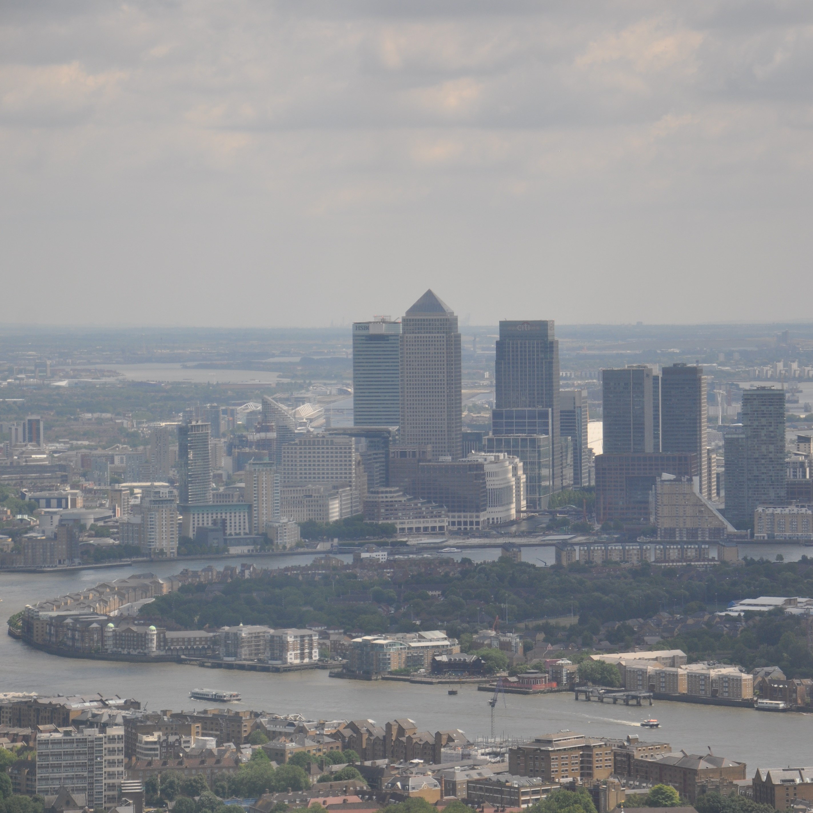 Canary Wharf, as seen in the distance from the top of the Shard in 2014.